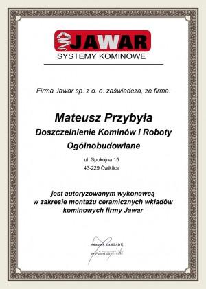 Certyfikat autoryzacji do montażu ceramicznych wkładów kominowych Jawar